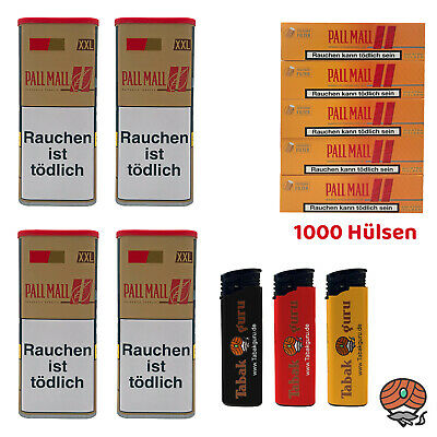 4 x Pall Mall Authentic Red/Rot Tabak á 115 g, Allround Hülsen, Feuerzeuge