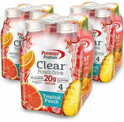 Premier Protein Clear Protein Drink,Tropical Punch, 16.9 fl oz Bottle,(12 Count)