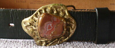 Vtg Brutalist Modernist Abstract Buckle w/Agate Stone & Leather Belt Size 36