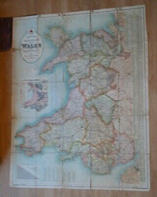 Super Antique Bacon's Excelsiormap of Wales and Monmouthshire Antique Welsh Map