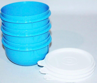 Tupperware Ideal Little Bowls Set of 3 in Solid Blue Bowls White Seals Brand New