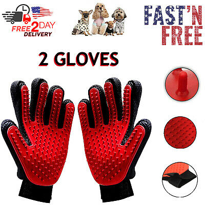 Pet Grooming Gloves Hand Brush Massage Dog Hair Gentle Removal Cat Cleaning