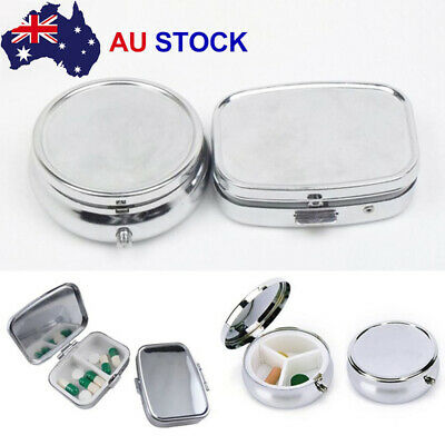 Metal Silver Tablet Pill Box Holder Container Medicine Small Case GA
