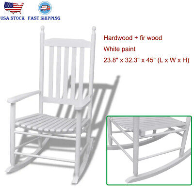 Wooden Rocking Chair with Curved Seat for Porch Patio Living Room Baby Nursery