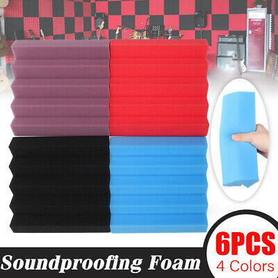 """6Pack Acoustic Foam Soundproofing  Wedge Tiles Panel Sound Absorption 10""""x10""""x2"""""""