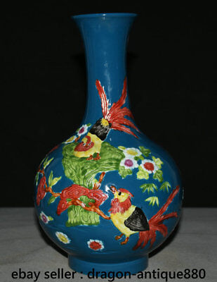 """11"""" Marked Chinese dynasty Palace Wucai Porcelain Rooster Cock Flower Vase Pot"""