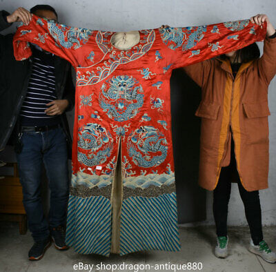 """63.2"""" Old China Red Silk Cloth Embroidery Dynasty Palace Dragon Imperial Robe"""