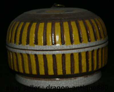 "9"" yongzheng Marked Old Chinese Yellow Glaze Porcelain Fly Dragon Food Round Box"