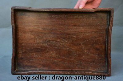 "14"" Collect Rare Antique Old Chinese Dynasty Palace Huanghuali Wood Plate Tray"