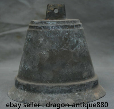 "6"" Rare Chinese Old antique Bronze Buddhism Temple Hang Bell Zhong Chung"