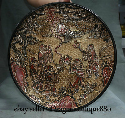 "15"" Marked Old Chinese Wood Lacquerware Dynasty Palace Old Man Plate Tray Screen"