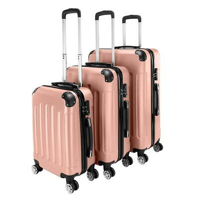New 3x Travel Spinner Luggage Set Bag ABS Trolley Carry On Suitcase w/TSA Pink