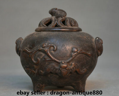 "6"" Old Chinese dynasty Palace Bronze Bat Aerial Mammal incense burner Censer"