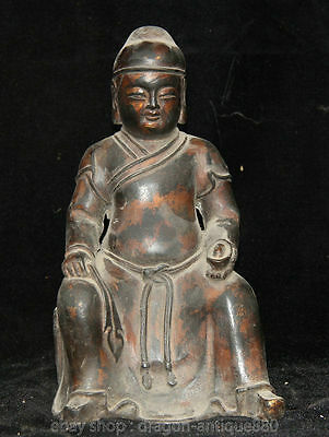 """8 """"Chinese Marked Man Antique Bronze Sculpture Seat Hold Wealth Yuanbao offi"""