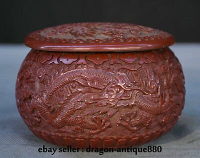 "5.2"" Marked Old Chinese Red Lacquerware Dynasty Dragon Weiqithe Game of Go Box"
