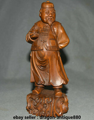 "7.6"" Old Chinese Boxwood Carving Feng Shui Landlord landowner Wealth Sculpture"