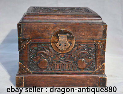 "9.2"" Old Chinese Huanghuali Wood Dynasty Peach Bat Handle Jewelry Box Casket"