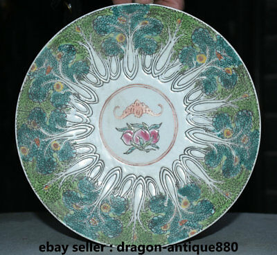 "9"" Marked Old Chinese Palace Color Porcelain peach Flower Bat Plate Tray Dish"