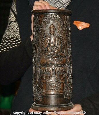 "12"" Rare Old Chinese Wood Carved Dynasty Shakyamuni Buddha Brush Pot Pencil Vase"