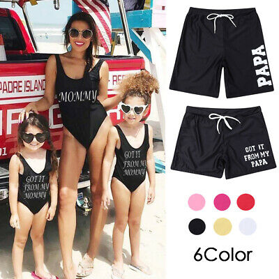 6 Color Summer Family Matching Swimwear Men Women Boy Girls Letter Beachwear US