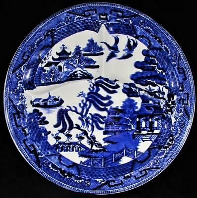 """Antique Ye Olde Blue Willow 10 5/8"""" Divided Grill Plate w/ Thumb Indents Burslem"""