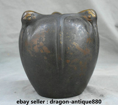 "7.2"" Collect Rare Marked Old Chinese Bronze Dynasty Palace Birds Pot Jar Crock"