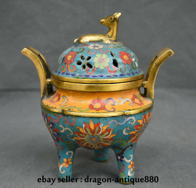 "8"" Marked Chinese Palace Bronze Cloisonne Gilt Flower Deer incense burner Censer"