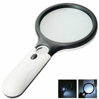 Handheld Magnifier 45X Reading Magnifying Glass Jewelry Loupe with 3 LED Lights