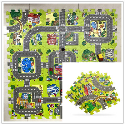 9 Tiles Puzzle Mat Soft EVA Foam Baby Crawling Kid Play Carpet Rug Road Traffic