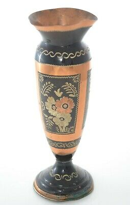 Vintage Vase Copper Collectible Handmade Hammered Hand Painted Pot Flowers Decor
