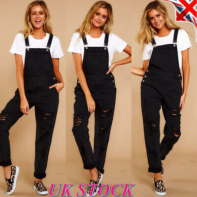 Womens Denim Jumpsuit Ladies Dungarees Overalls Straps Ripped Jeans Trousers UK