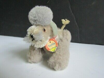 Vtg Steiff Gray Mohair Poodle Dog Stuffed Animal w Tag