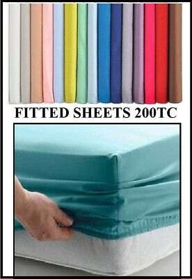 """6' SUPER KING SIZE High Quality Fitted Sheet 6' X 6' 6""""  OVER 20 COLOURS 200TC"""