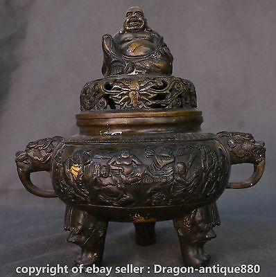 "10""Old Chinese Bronze Dyansty Maitreya Buddha Lids Handle Incense Burner Censer"