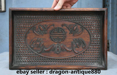 "13.8"" Antique China Chinese Wood Carving Dynasty Bat Lucky Plate Dish Tray"