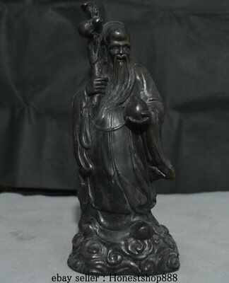 "12"" Old Chinese Wood Carving Feng Shui God of Longevity Peach Lucky Sculpture"