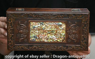 "11"" Old Chinese Huanghuali Wood Inlay Shell Dynasty Bat Jewelry Box Boxes Chest"
