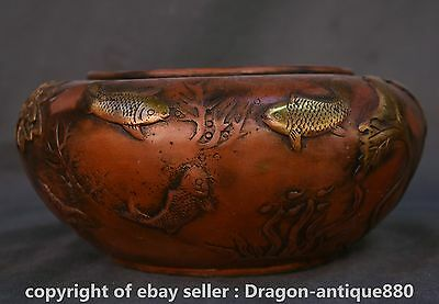 """9"""" Qianlong Marked Old Chinese Red Bronze Dynasty Fish Lotus Leaf Pot Jar Crock"""