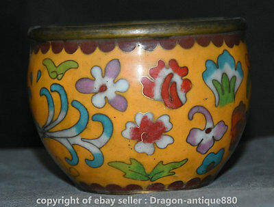 """4"""" Collect Rare Old Chinese Cloisonne Enamel Dynasty Palace Flower Pot Jar Crock"""