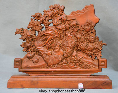 """10"""" Chinese Boxwood Wood Carved Animal Rooster Chicken Cock Statue Sculpture"""