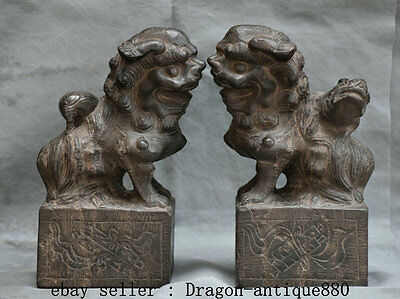 """10"""" Collect Old Chinese Solid Stone Door Guard Foo Fu Dog Lion Beast Statue Pair"""