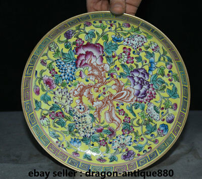 """8.4"""" Yongzheng Marked Old China Famille Rose Porcelain Dynasty Flower Plate Tray"""