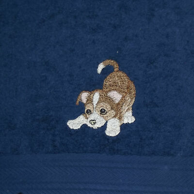 Puppy Dog Embroidered Bath Towel, New Home Gift, Embroidered Towel
