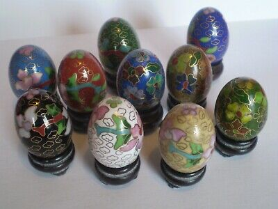 Stunning Set Of 10 Miniature Cloisonne Enamel Eggs With Wooden Stands