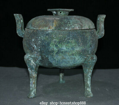 """10"""" Chinese Old antique Bronze Ware Dynasty Palace 3 Foot Handle Pot Jar Crock"""