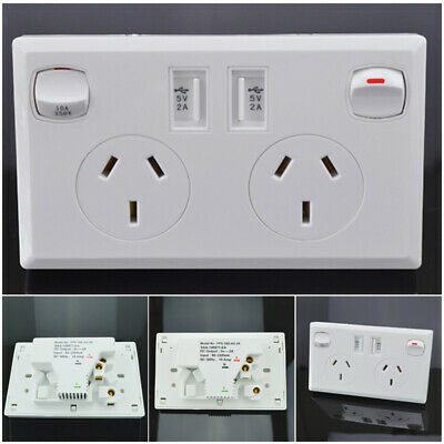Dual 2 USB Port Wall Socket Charger AU Power Receptacle Outlet Home Plate Panel