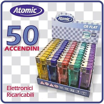 50 Accendini Atomic Cr Flat Accendino Elettronici Ricaricabili Colorati Economic