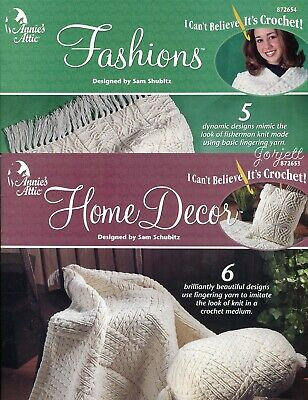Fashions ~ 5 Fisherman Knit-Look Projects Annie/'s crochet patterns