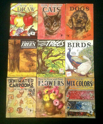 Lot of 9 WALTER FOSTER How to Draw Cats Dogs Birds Flowers Trees ART INSTRUCTION