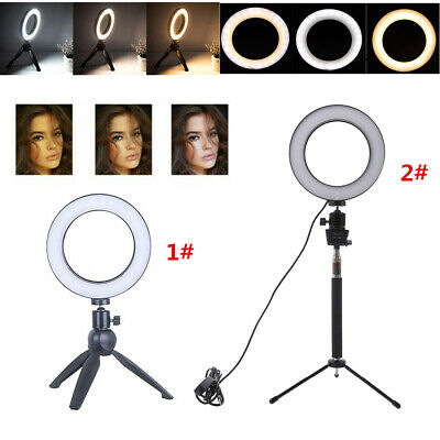 LED Dimmable Ring Light Studio Photo Video Live Lamp Camera Phone Holder Tripod